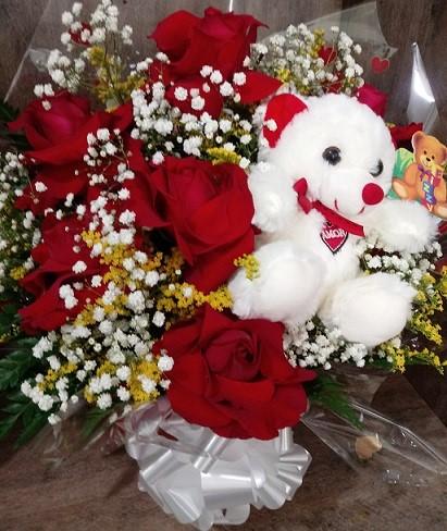 Arranjo com 06 Rosas Colombianas e Ursinho