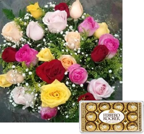Bouquet 24 rosas coloridas + Ferrero Rocher 12 unidades