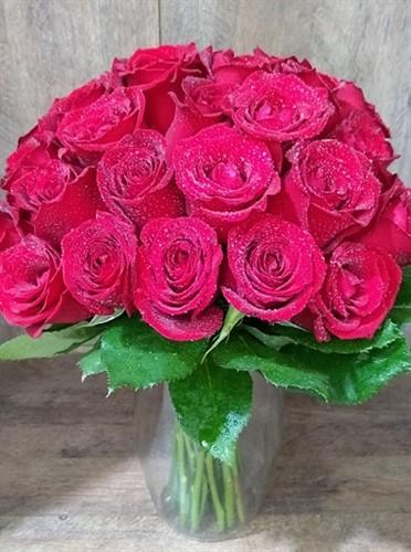 Bouquet 40 rosas vermelhas no vidro