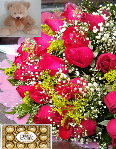 Trio Encanto - Bouquet 24 rosas + Ferrero Rocher 12 unidades + Urso de Pelúcia M