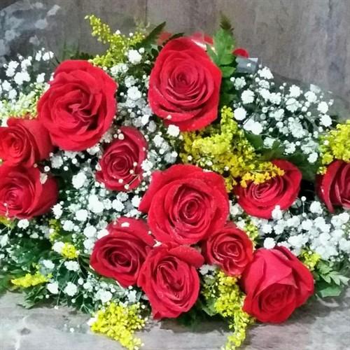 Bouquet 12 rosas vermelhas - Frete Grátis*