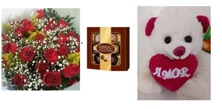 Trio Encanto - Bouquet 20 rosas + Ferrero Rocher + Urso de Pelúcia