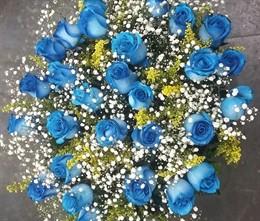 Bouquet 20 rosas azuis
