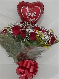 Bouquet 24 rosas vermelhas + Balão