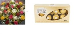 Bouquet 24 rosas coloridas + Ferrero Rocher 08 unidades