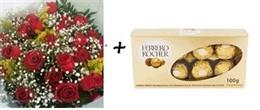 Bouquet 24 rosas vermelhas + Ferrero Rocher 8 unidades