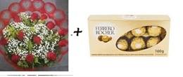 Bouquet 12 rosas + Ferrero Rocher T8