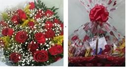DUETO ESPECIAL - Cesta N2 + Bouquet 24 rosas nacionais ou Bouquet 12 rosas colombianas