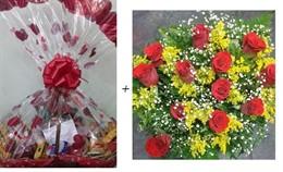 Dueto Amor - Cesta 40 itens + Bouquet 12 rosas