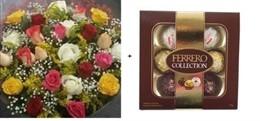 MEGA PROMOÇÃO - Bouquet 24 rosas coloridas + Ferrero Rocher Collection T7