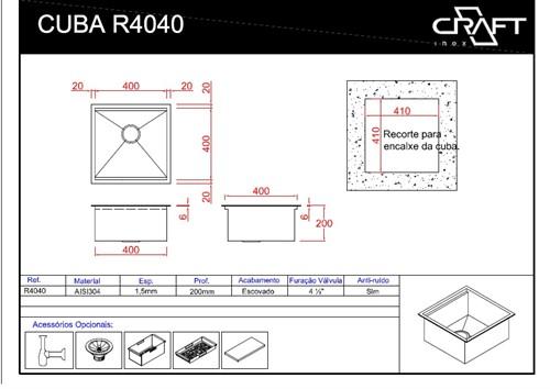 CUBAS CRAFT QUADRATO R4040