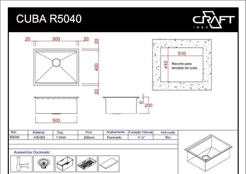 CUBAS CRAFT QUADRATO R5040
