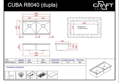 CUBAS CRAFT QUADRATO R8040D