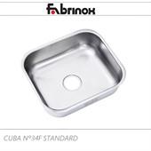 CUBA DE AÇO INOX Nº34F 400x340x140mm
