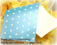 "Cardstock Decorado Perolizado 12x12"" - Azul com Bolinhas - Diamond Papers"