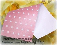 "Cardstock Decorado Perolizado 12x12"" - Rosa com Bolinhas - Diamond Papers"