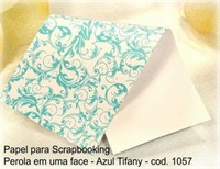 "Cardstock Decorado Perolizado 12x12"" - Renda Azul Tifany - Diamond Papers"