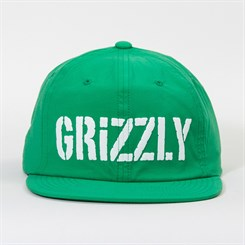 Boné Grizzly Stamp Logo Nylon Snapback Hat in Green
