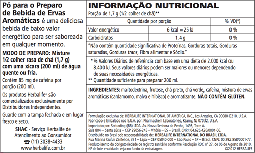Chá Herbalife Thermojetics 100g - 59 porções