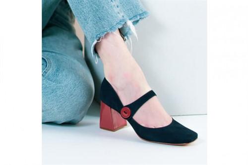 Cód.: 5282 - Sapato Boneca Botão - Azul Marinho