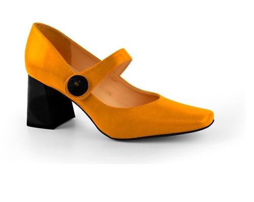 Cód.: 5282 - Sapato Boneca Botão - Mostarda