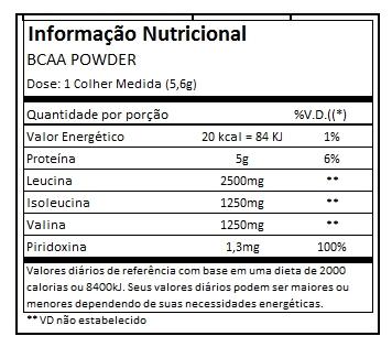 acaa1682f Misture 1 (um) scoop de BCAA Powder em cerca de 150ml de água. ou de acordo  com seu médico nutricionista.