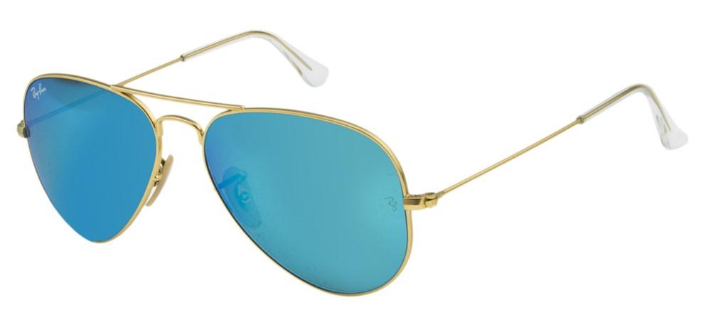 9c7575d72 Ray Ban Aviador 3025L - Armação Dourado Matte, Lentes Azul Espelhado - 11217