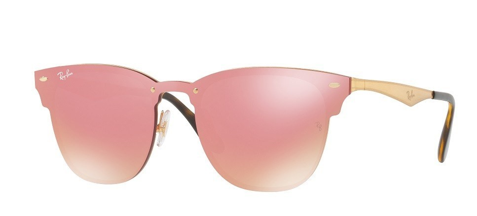 6e035f7ff Ray Ban Blaze 3576N - Armação Metal, Lentes Rosa com Flash Rosé - 043E4