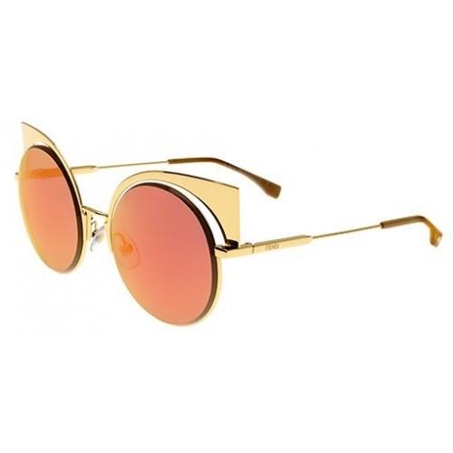 Fendi Eyeshine 0177 - Armação Metal Dourada Lente Espelhada Dourada com  Flash Rosa - 001OJ fa410d377f