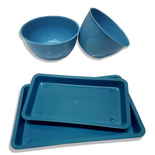 KIT Auxiliar com 2 Bandejas e 2 Cubas - Azul