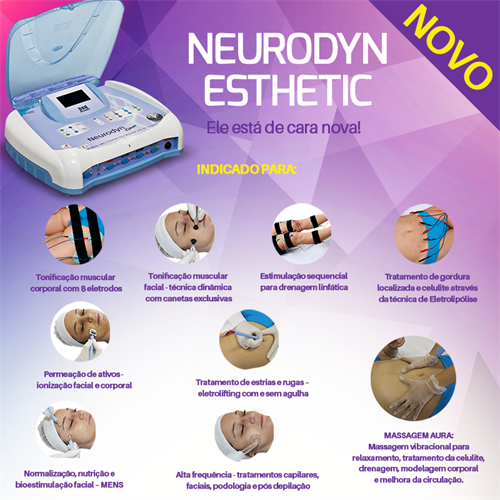 Neurodyn Esthetic - Massagem Aura, Corrente Aussie, Alta frequência, Polarizada e microcorrentes - Ibramed
