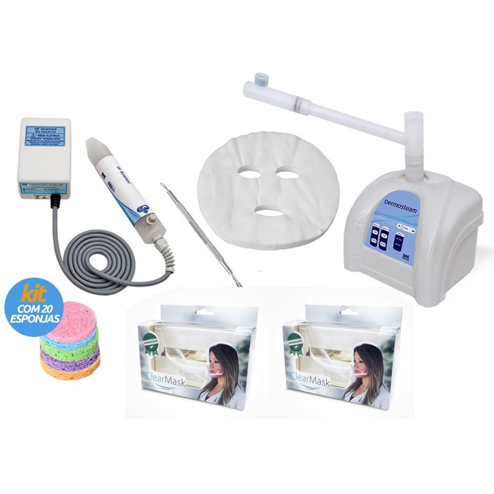 Combo - Dermosteam Ibramed + Máscara Desidratada facial pacote com 36  unidades + Alta Frequência HF db2a4f7436