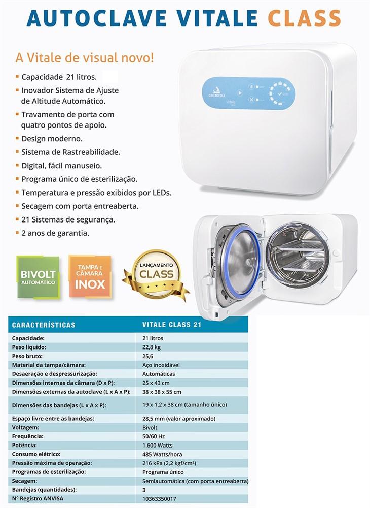Autoclave 21 Litros Vitale Class CD