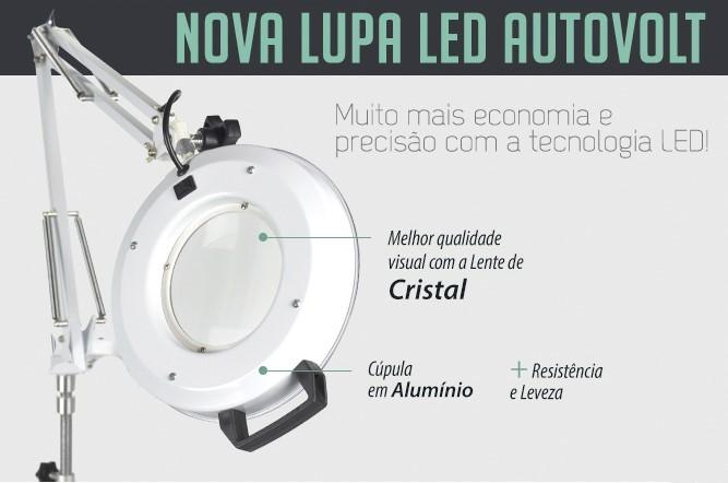 Lupa com iluminação em LED c/ apoio para Mesa