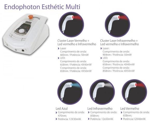 Endophoton Esthetic Multi - LED e Laser com 5 Aplicadores - Tratamento de Manchas de Pele, Rejuvenescimento, Reparo Tecidual e Acne - KLD
