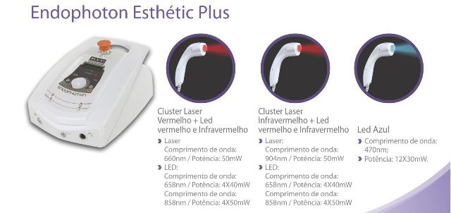 Endophoton Esthetic Plus - LED e Laser com 3 Aplicadores