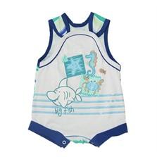 Jardineira Bebê Pingo Doce Estampado Tubarão Branco Azul 0440d630c23