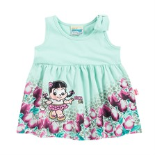 Vestido Bebê Brandili Rosinha Verde Claro Turma da Mônica 9e288ec286c