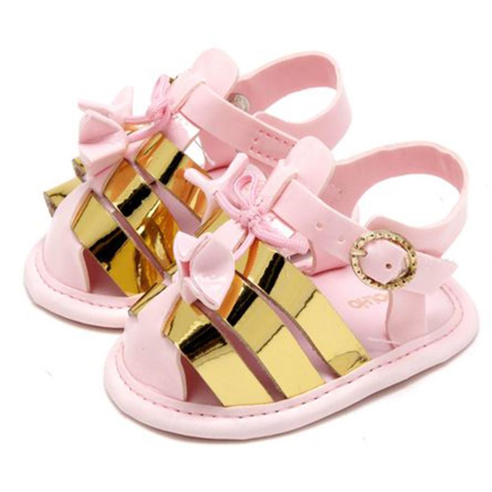 f0b2cafb14 Sandália Bebê Menina Fase 1 Rosa com Dourado 01 e 02 - comprar ...