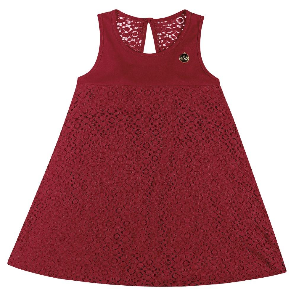 05ad3a8144 Vestido Infantil Feminino Elian Vermelho Renda Verão