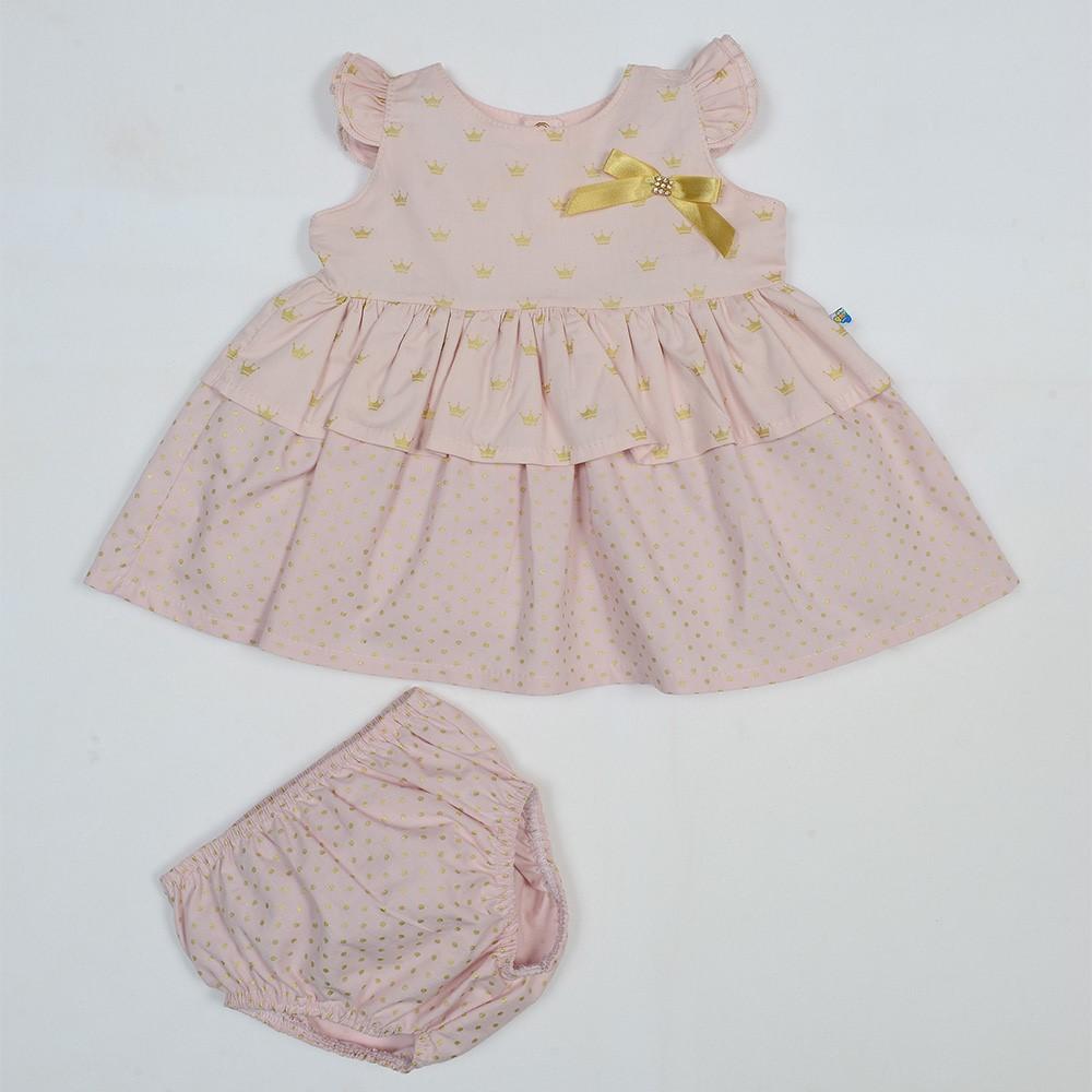 becaaabf7 Vestido Bebê Pingo Doce Tricoline Coroa Rosa - comprar - preço rio ...