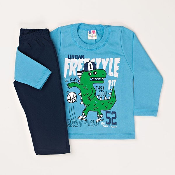 8ebfb7b91c68 Conjunto Infantil Masculino Inverno Moletom Forrado W.kids Freestyle Azul  01 a 03 Anos