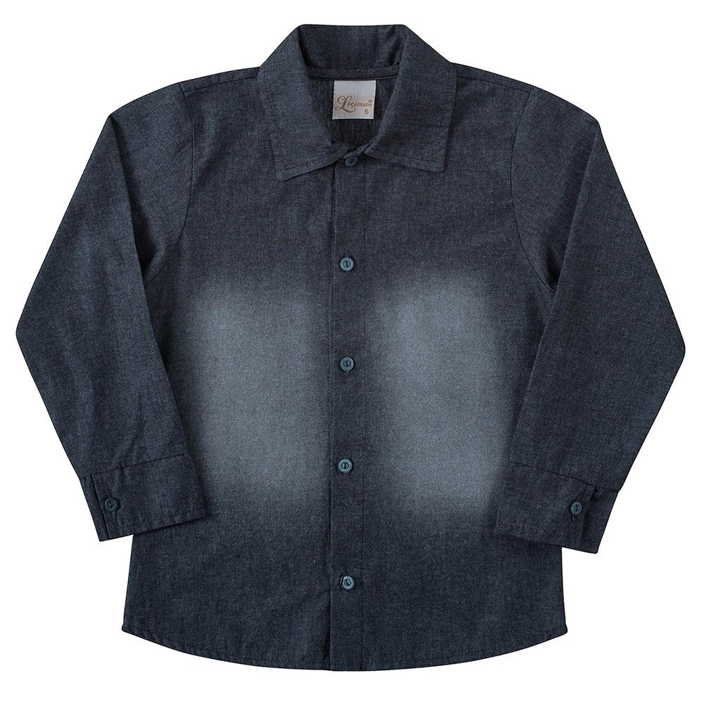0d10fe18f Camisa Social Infantil Lecimar Manga Longa Jeans 01 a 03 anos ...