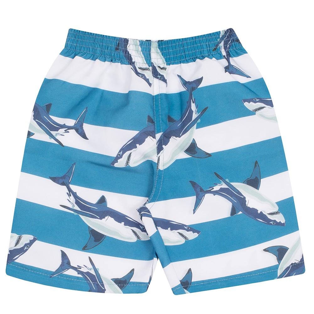 24c25d73fdbe9a Bermuda Infantil Serelepe em Tactel Tubarão Azul 01 a 04 anos