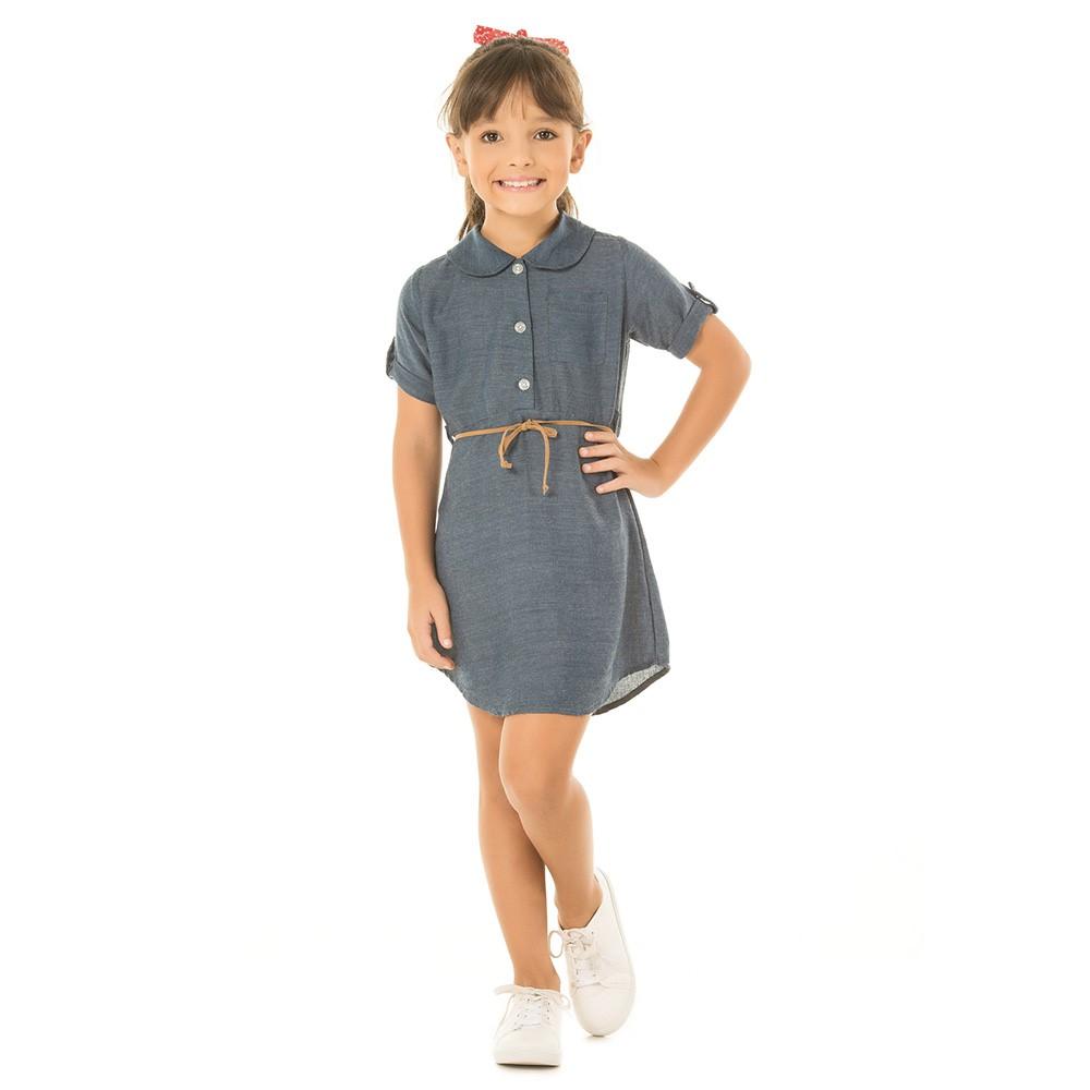 075e6406e Vestido Infantil Serelepe Tricoline Jeans 06 a 14 anos - comprar ...