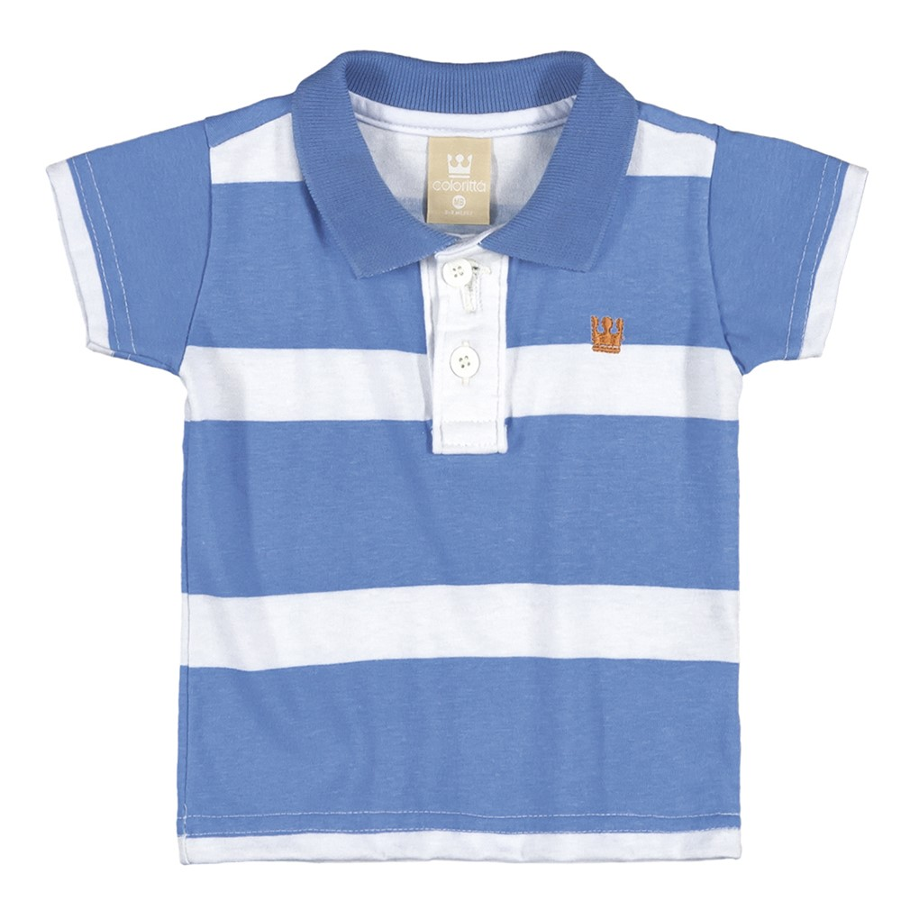 7a10c654b6 Conjunto Bebê Colorittá Camisa Polo e Bermuda Listrado Azul ...