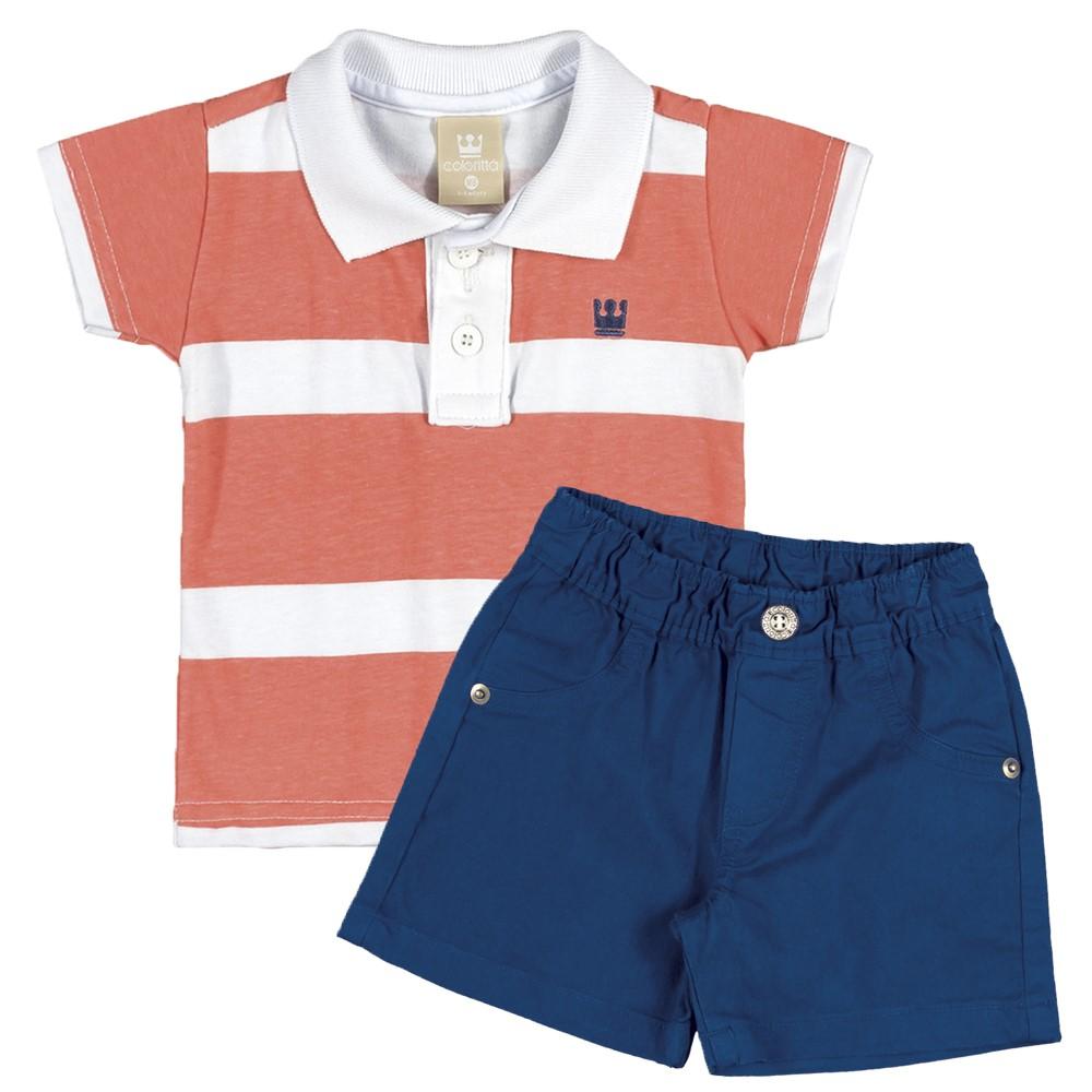 fd818f88ee Conjunto Infantil 01 Ano Colorittá Camisa Polo e Bermuda Listrado Laranja