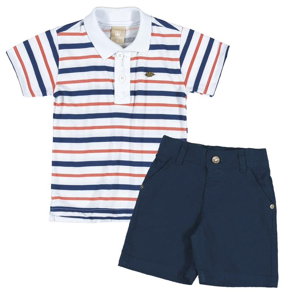 b60e7b6519 Conjunto Infantil Masculino Verão Colorittá Camisa Polo e Bermuda 06 e 08  Anos Marinho