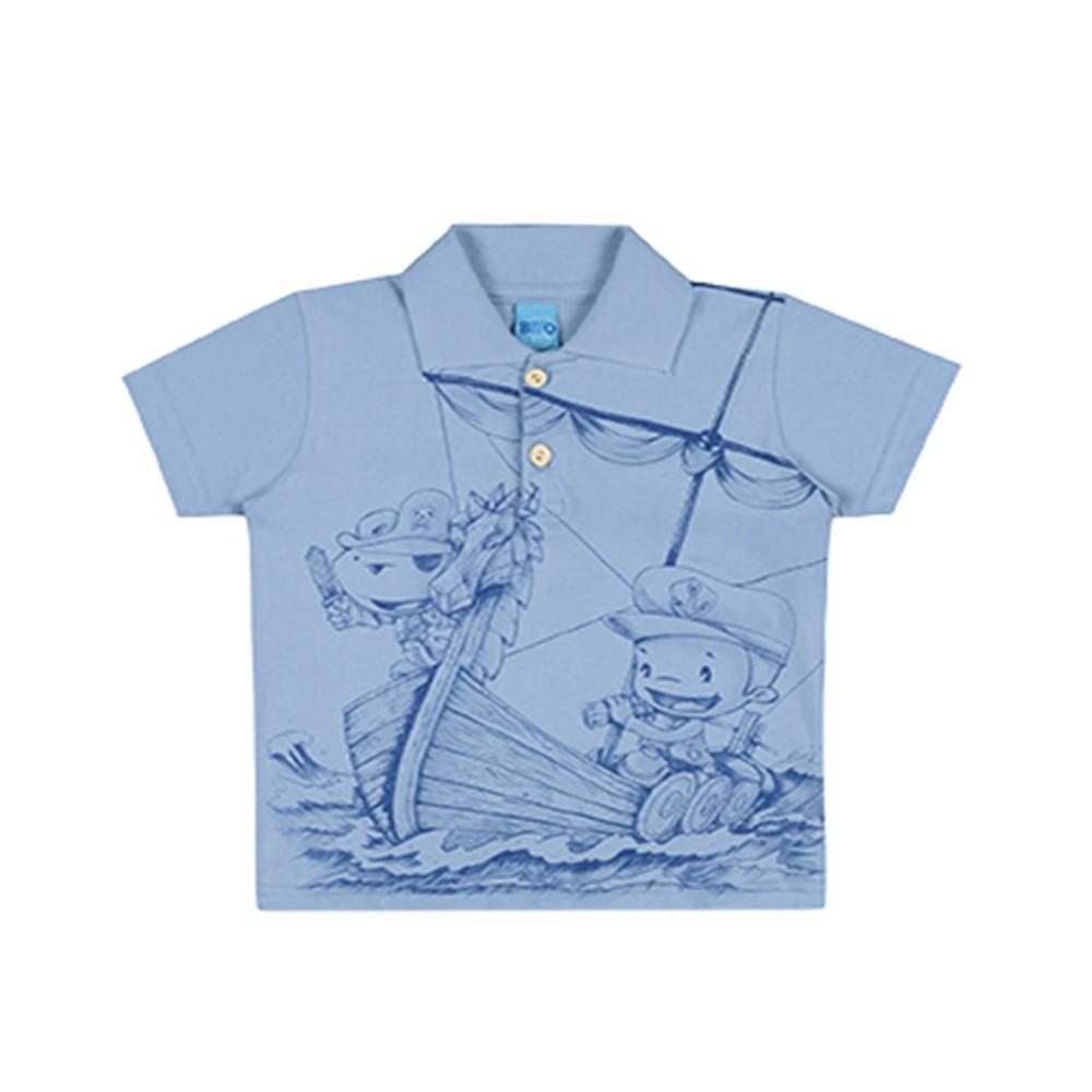 fad85b0416 Camisa Polo Infantil Lecimar Pirata Azul - comprar - preço rio de ...