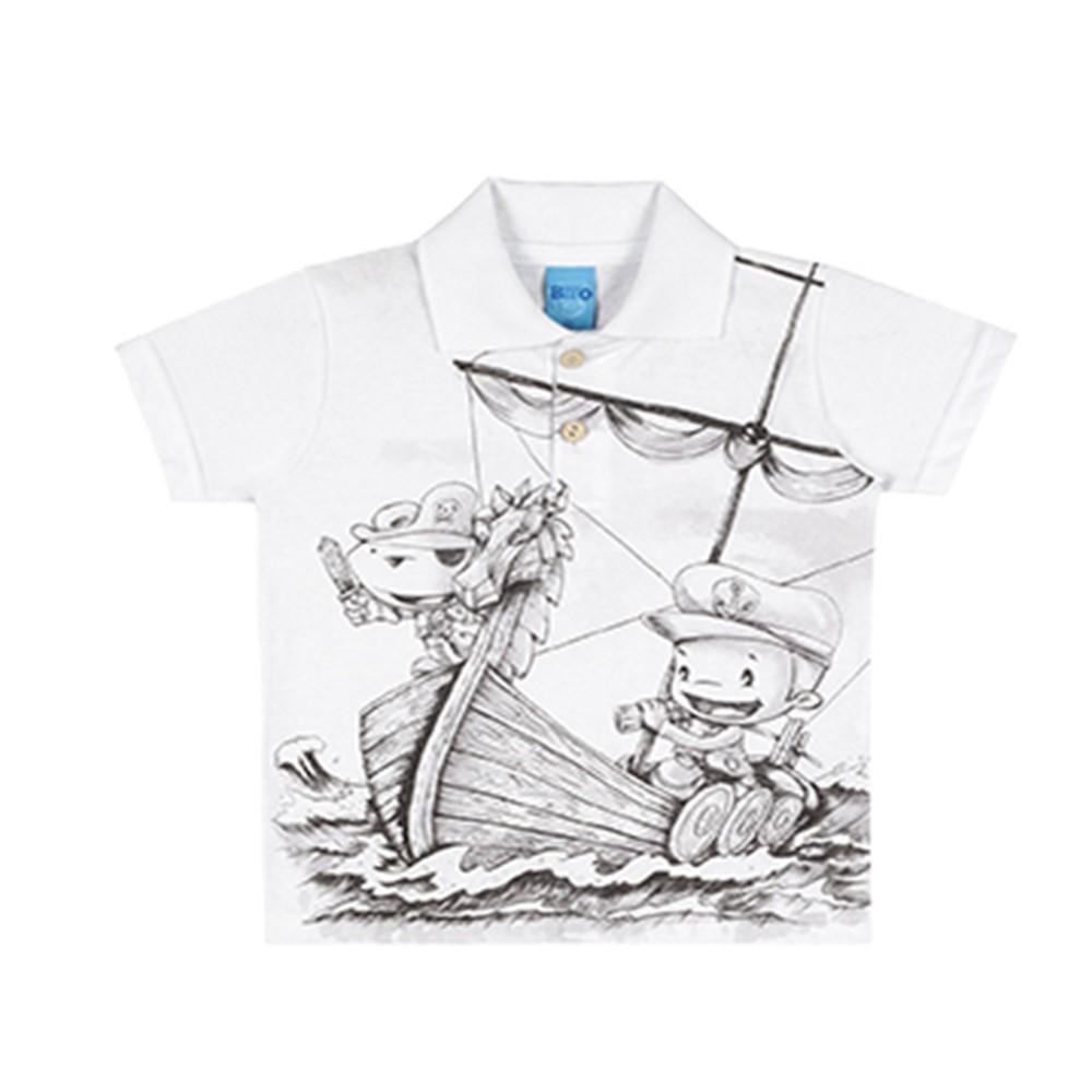 4e4d4d9078 Camisa Polo Infantil Lecimar Pirata Branca - comprar - preço rio de ...